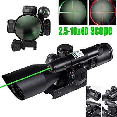 Vokul 2.5-10x40 Tactical Rifle Scope Dual illuminated Mil-dot w/ Rail Mount-Shockproof, Waterproof, Fogproof