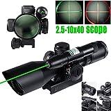 Vokul® 2.5-10x40 Tactical Rifle Scope Green Laser Dual illuminated Mil-dot w/ Rail Mount-Shockproof, Waterproof, Fogproof