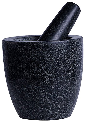 Mörser mit Stößel (massiver Mörser aus Naturstein mit Schlegel teil poliert) schwere Ausführung , iapyx®