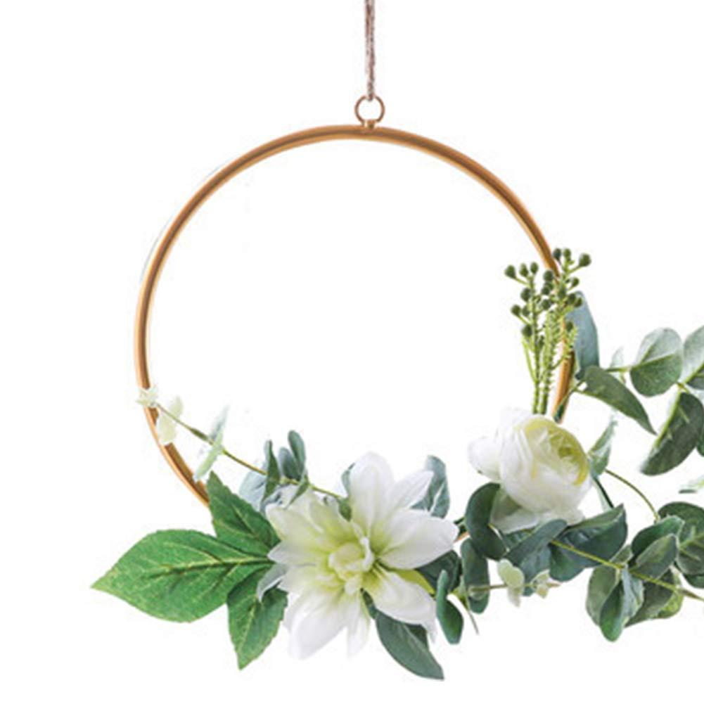 para decorar la pared del tel/ón de fondo de la boda en el hogar Aro de guirnaldas marco de guirnalda de metal para colgar en la pared marco de hierro colgante de anillo de metal