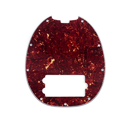 Musiclily 9 Hole Bass Pickguard for MusicMan MM StingRay 4 String Bass Guitar, 4Ply Vintage Tortoise