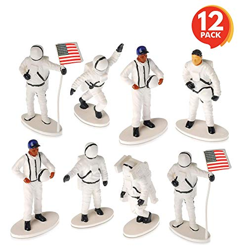 ArtCreativity 2.5 Inch Astronaut Toy Figures - Set of 12 - Cool Space Gift for Kids - Realistically Hand Painted - Astronomy, Space-Themed Birthday Party Favors for Boys and Girls - Unique Cake Topper