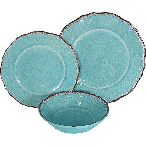 8 X Le Cadeaux Antiqua Turquoise - 3 Piece Place Setting, 24 Piece Set by Le Cadeaux