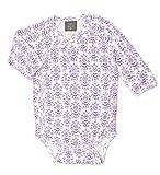 Kate Quinn Organics Unisex-baby Long Sleeve Kimono Bodysuit, 0-3M (Lilac Wallpaper)