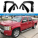 Magnus Smooth Finish Pocket Rivet Style Heavy Duty ABS Blister Plastic Fender Flares Compatible with 2007-2013 Chevrolet Silverado 1500 Short Bed 5.8 ft