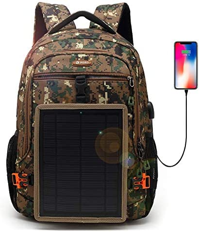 DTBG Solar Backpack 15.6 Inch Laptop Backpack Anti-Theft Business Bag Nylon Commuter Travel Backpack Casual Rucksack with Removable 5 Watt Solar Panel Charge for iPad smart phone Men Women-Army Green