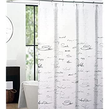 Tahari Fabric Shower Curtain Gray And Silver Words On White    Shower Script