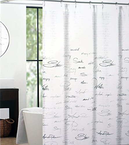 Tahari Fabric Shower Curtain Gray and Silver Words on White -- Shower Script
