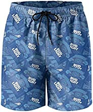 Mens' Waterproof Swim Trunks Quick Dry Bud-Light-Beer-Blue-White- Beach Shorts Beach Wear with Poc