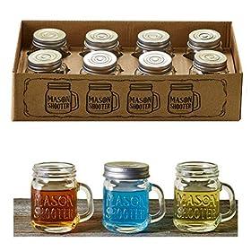 Hayley Cherie – Mason Jar Shot Glasses with Lids (Set of 8) – Mini Mason Shooter Glass with Handles – 2 Ounces