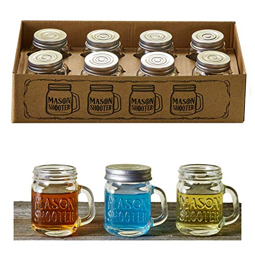 Hayley Cherie - Mason Jar Shot Glasses with Lids (Set of 8) - Mini Mason Shooter Glass with Handles - 2 Ounces -