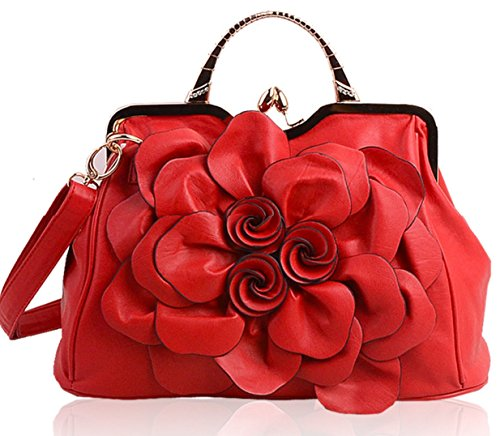 PINCHU Bolso Étnico De La Decoración De La Flor del Totalizador De Las Mujeres,Gray Red