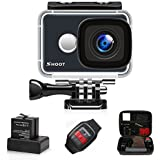 SHOOT Action Camera 14MP 4K WIFI 170° Ultra Wide-Angle Lens Outdoor 1080P Sports Cam Bundle Kit with Waterproof Small Carrying Case