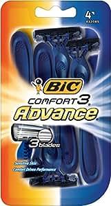 BIC Comfort 3 Advance Men's Disposable Razor, Pack of 4