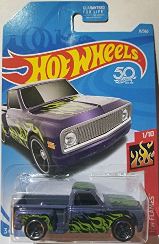 Hot Wheels 2018 50th Anniversary HW Flames Custom '69 Chevy (Purple) 11/365, - Custom 69 Chevy Pickup