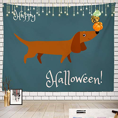 Batmerry Happy Tapestry, Halloween Dachshund Picnic Mat Beach Towel Wall Art Decoration for Bedroom Living Room Dorm]()