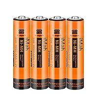 iMah AAA Rechargeable Batteries 1.2V 750mAh Ni-MH, Also Compatible with Panasonic Cordless Phone Battery 1.2V 550mAh HHR-55AAABU and 750mAh HHR-75AAA/B, Outdoor Solar Lights, Pack of 4
