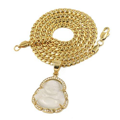 Jade White Gold Necklace - Raonhazae Stainless Steel Gold Iced Out Smiling Chubby Buddha (White Jade) Pendant w/Cuban Chain (24)