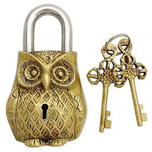 PARIJAT HANDICRAFT Functional Brass Beautiful Padlocks with Two Keys Owl Shaped Brass Handcrafted Locks for Security by PARIJAT HANDICRAFT