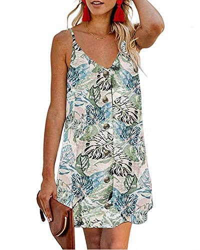 Kenoce Women's V Neck Casual Beach Summer Dresses Button Front Sleeveless Adjustable Spaghetti Strap Mini Short Sundress Floral M (Sleeveless Button Front Dress)
