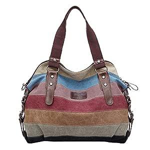 Koolertron Fashion Vintage Women's Shoulder Color Block Bag Canvas Tote Messenger Lady's Handbag Purse