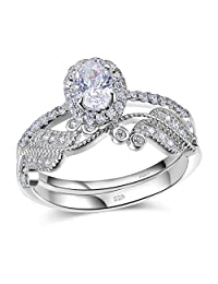 Newshe Woman 1.6ct Oval White AAA Cz 925 Sterling Silver Wedding Engagement Ring Set Size 5-10