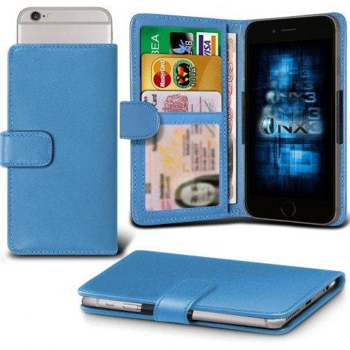 BLU Vivo 5 Titular de la tarjeta identificación de la carpeta de muelle ajustable cubierta de la caja (Baby Azul) Plus de regalo libre, Protector de pantalla y un lápiz óptico, Solicitar ahora mejor c