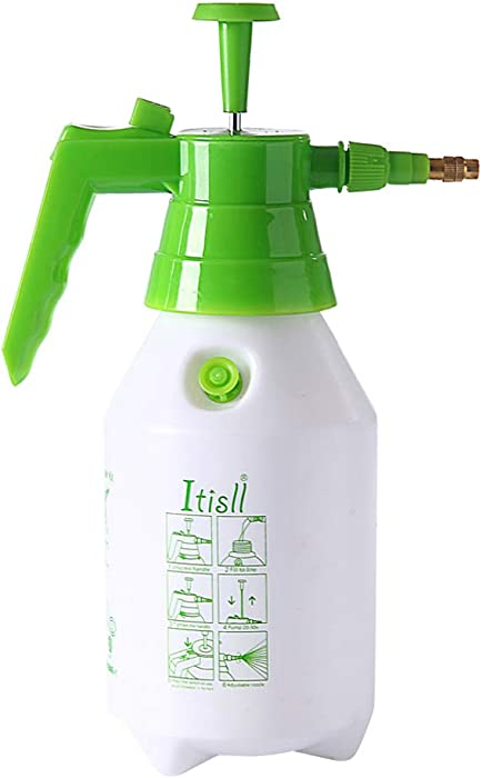 ITISLL 34 oz Manual Garden Sprayer with Safety Valve, Hand-held Lawn Pressure Pump Sprayer Bottle with Adjustable Nozzle, 1 liters (219NR1)
