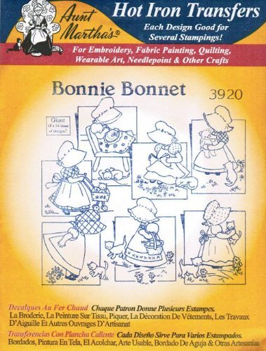 Bonnie Bonnet Aunt Martha's Hot Iron Embroidery Transfer ()