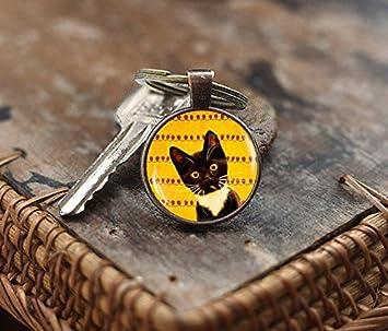 Llavero negro para gato, llavero para gato, regalo para amante de los gatos, llavero para gatito, joyería de gatito bruñido, llavero de arte Kitty: ...