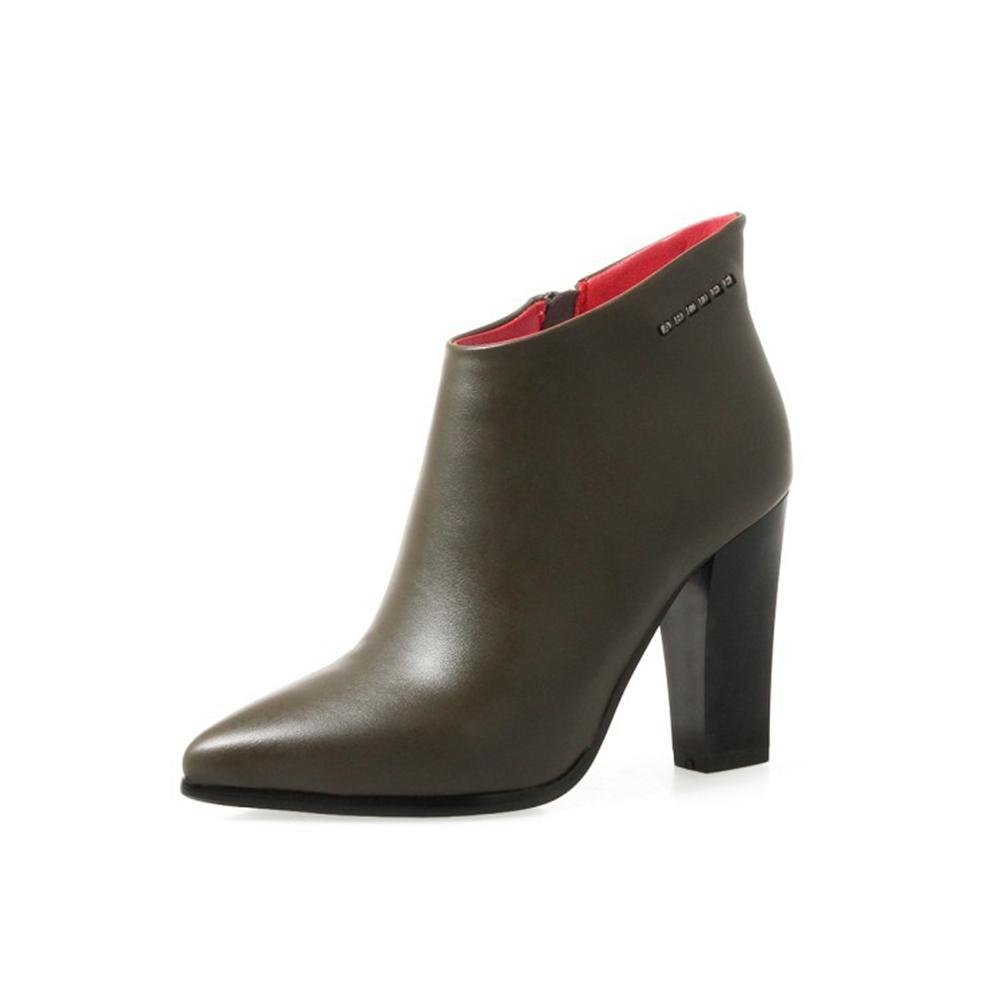 NVXIE Mujeres Botines Rough High Heel Antideslizante PU Artificial Cremallera Lateral Negro Otoño Invierno Trabajo de Fiesta, EUR 35/UK 3 ARMYGREEN-EUR35UK3