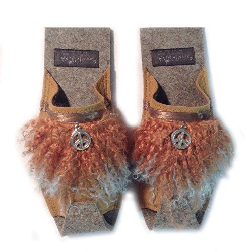 Pendente 38 Peace Pantofola Pelliccia nbsp; In Taglia E Camel Agnello Con Pantoffeldiva Unisex Verbraemung Merino Diva Di Blue Lana Hippi Design Feltro qxFRwT