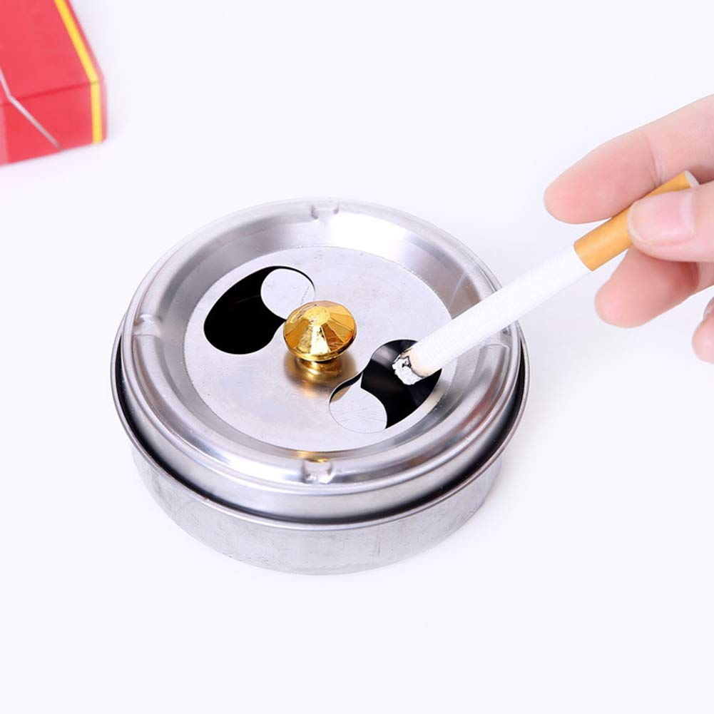 WillowswayW Stainless Steel Ashtray Lid Rotation Fully for Home Hotel Car