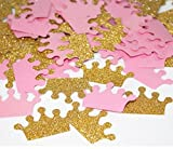 Double-Sided Glitter Gold and Pink Crown Confetti Bithday Parties Wedding Confetti Baby Shower Bridal Decorations Table Scatters Setting, 200pcs