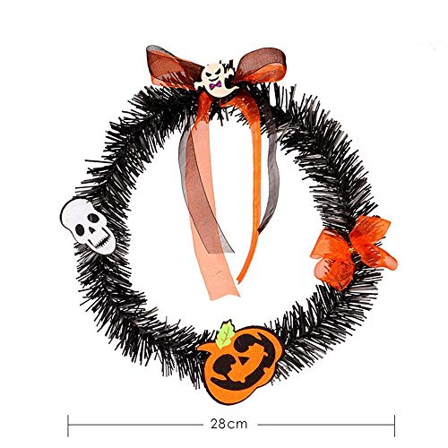 Chlwreath 30cm Halloween Large Wreath Door Wall Ornament Garland Decoration Pumpkin Skull Handmade Christmas Wreath Wreath Gifts]()