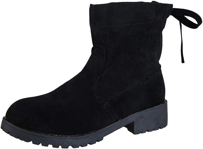 Botines cuña para Damas para Mujer Otoño Invierno Moda 2018 PAOLIAN Botas Camperas Terciopelo Botines Tacón Ancho Zapatos Señora Antideslizante Retro Botas ...