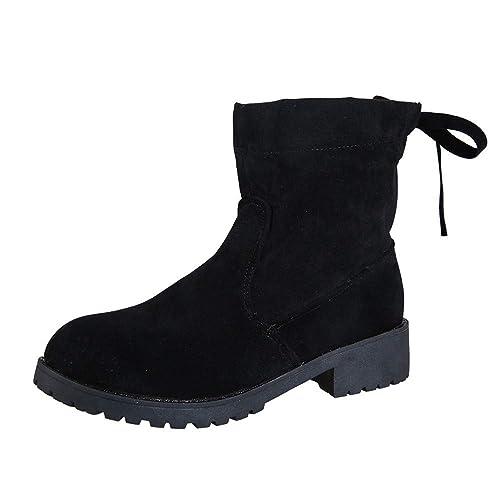 Moda Zapatos Mujer Otoño Invierno 2018 Botas de Tacón Alto Botines con Plataforma,Mujer Martin Botines Altos Talones Botines con Cordones Botas de Nieve ...