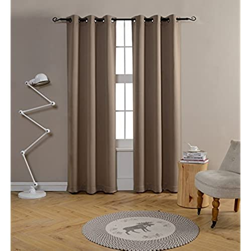 Mysky Home Grommet Top Thermal Insulated Window Blackout Curtain For Living  Room, 42 By 84 Inch, Taupe (1 Panel)