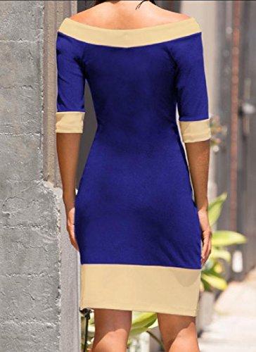 Confortables Femmes La Moitié Manches Robe De Soirée Sexy Couleur A Frappé L'épaule Bleu