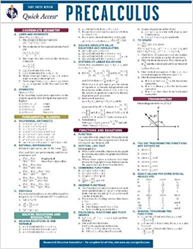 Precalculus - REA's Quick Access Reference Chart (Quick