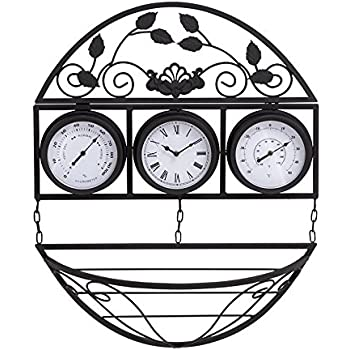 deco 79 metal outdoor clock thermometer 21 by 25inch