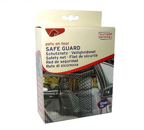 Europet Bernina SAFE GUARD Auto-Sicherheitsnetz/ Schutznetz aus Nylon mit Befestigungszubehör 122 x 64 cm / Sicherheit für Mensch und Tier