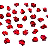 red acrylic crystals - Acrylic Color Ice Rock Crystals Treasure Gems for Table Scatters, Vase Fillers, Event, Wedding, Arts & Crafts, Birthday Decoration Favor (190 Pieces) by Super Z Outlet (Red)