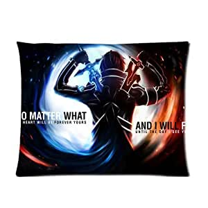 Custom Cotton Polyester Soft Pillow 20X26 (One Side) - Japanese Anime Comics Manga Cartoon Series Sword Art Online Kirito Dreamy Space Galaxy Spot No Matter What And I Will Fight Personalized Pillowcase