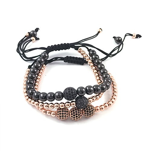 (Nonesuch Creations Macramé stack Rose-gold & Black bead bracelets with pave zircon encrusted)