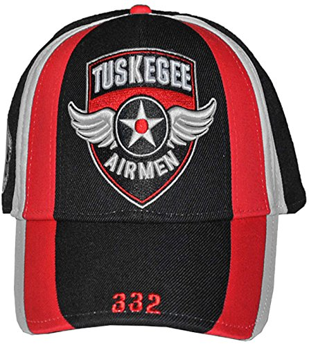TUSKEGEE AIRMEN RED TAILS HAT 332ND AIR FORCE BLACK HISTORY CAP (TUSKEGEE Wings Red Blk Wht)