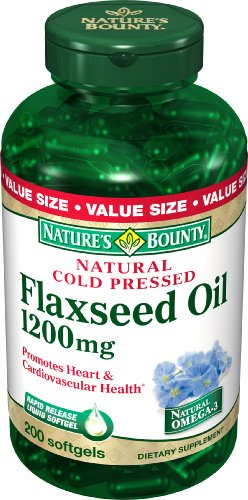 Nature Bounty à l'huile naturelle de lin pressée à froid, 1200mg, 200 gélules