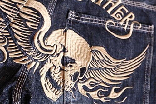 スカル ウィング 刺繍 USED加工 デニム SP-B-14