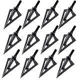 100 Grain Broadhead, Vopa 3 Blade Broadhead Archery Arrow Head Tips for Compound Bow Recurve Crossbow Hunting or Practice