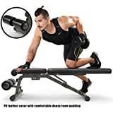 FEIERDUN Utility Weight Bench - 882 lbs Capacity Exercise Bench Adjustable Gym Bench 5 Back Pad Positions from Flat/Incline/Decline with 3 Position Seat